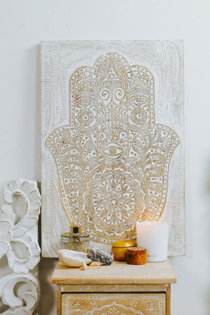 Hamsa Carved Wall Panel