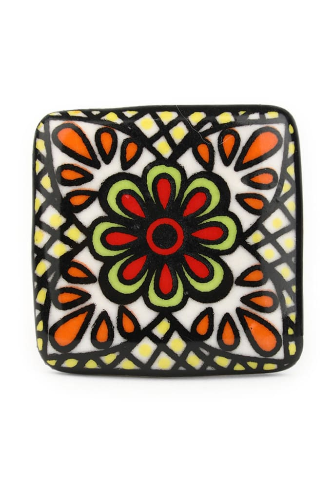 Handpainted Ceramic Square Knob