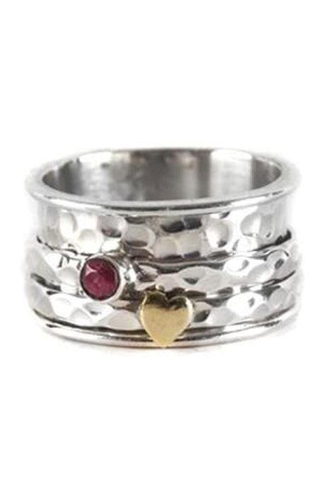 Heart & Gemstone Spinning Ring
