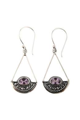 Kali Dot Swinging Amethyst Silver Earrings