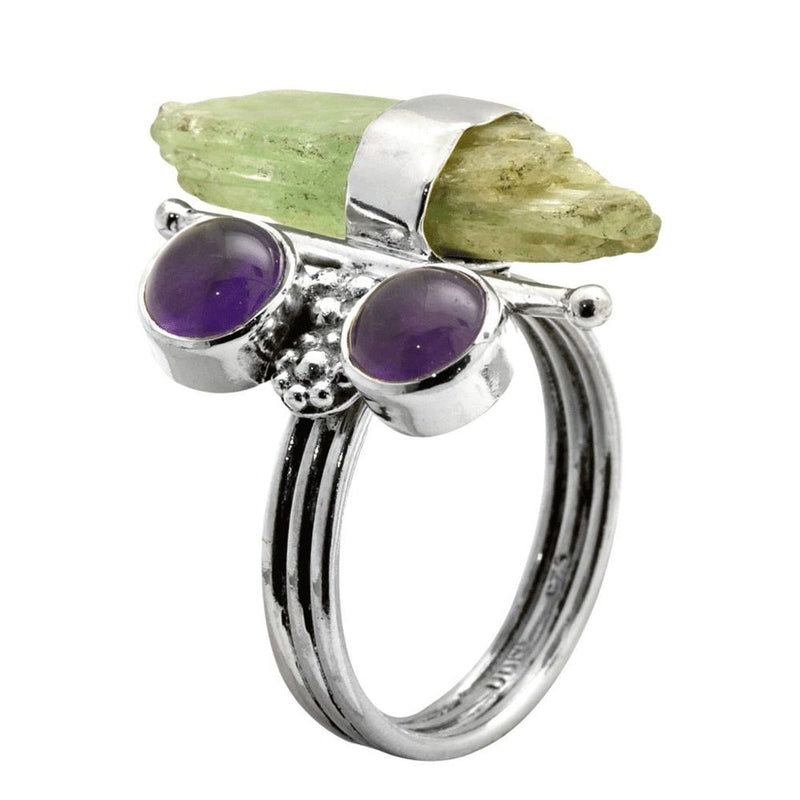 Kyanite Rock & Amethyst Ring