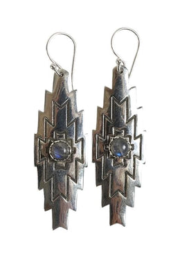 Labradorite Aztec Earrings