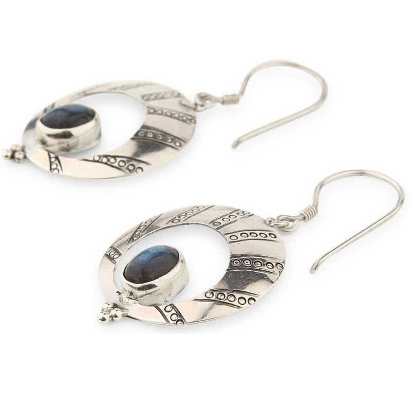 Labradorite Disc Earrings