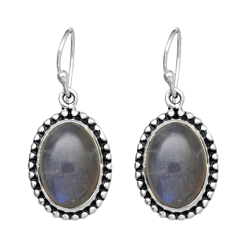 Labradorite Oval Dot Earrings