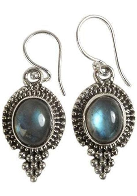 Labradorite Oval Stone Earrings