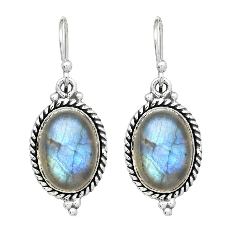 Labradorite Oval Twist Earrings