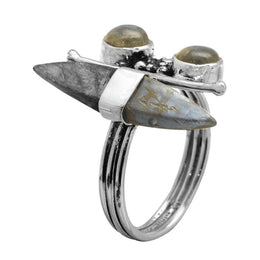 Labradorite Stone & Spear Ring