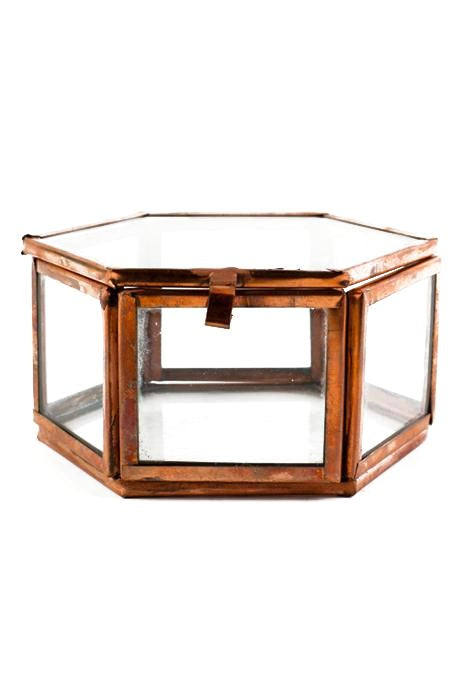 Large Copper Hexagon Glass Box