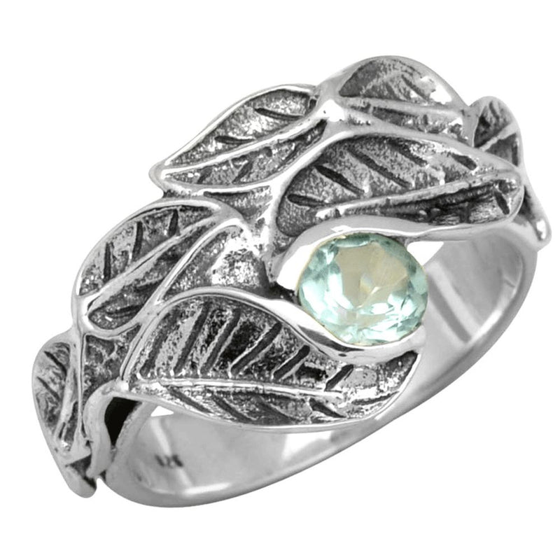 Leaf-Entwined Blue Topaz Ring