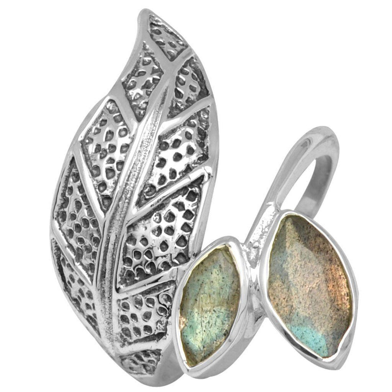 Leaf & Gemstone Wrap Ring