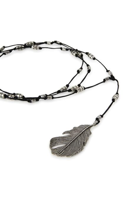 Leather And Feather Necklace