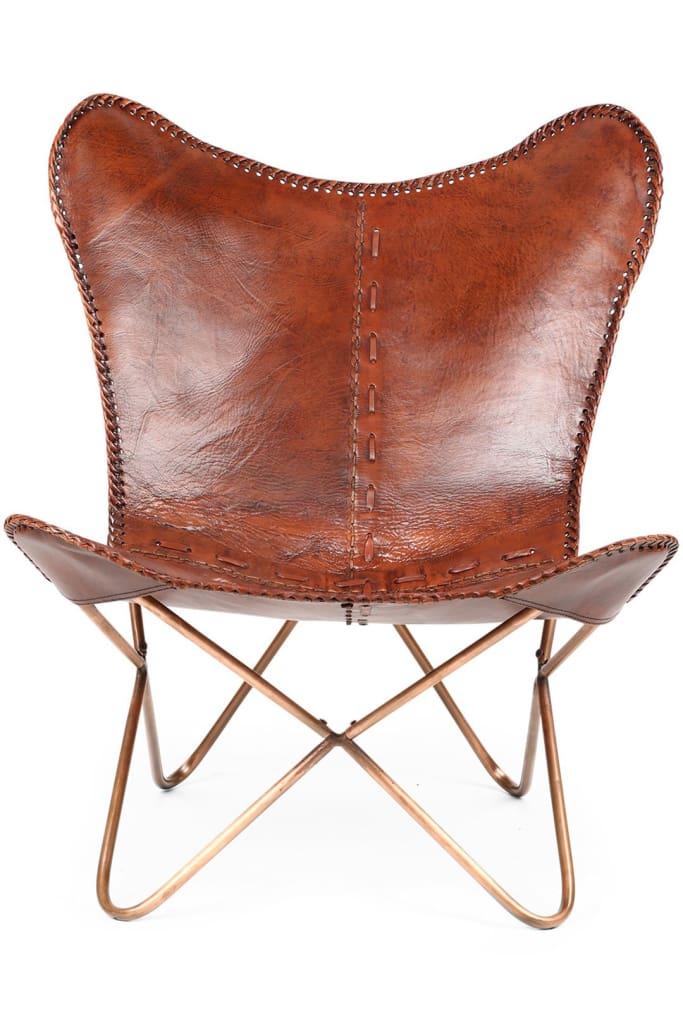 Leather Butterfly Chair - Brown