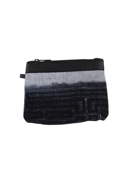 Leather Trim Denim Coin Pouch