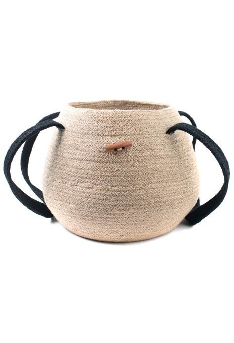 Lidded Jute Basket With Long Handles