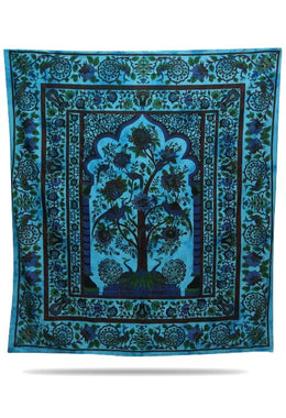 Light Blue Tree Of Life Bedspread