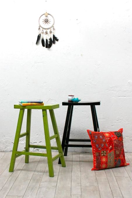 Lime Antique Chinese Barstool