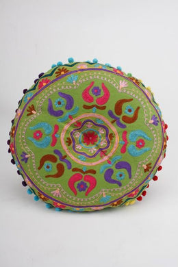 Lime Green Embroidered Round Gaddi