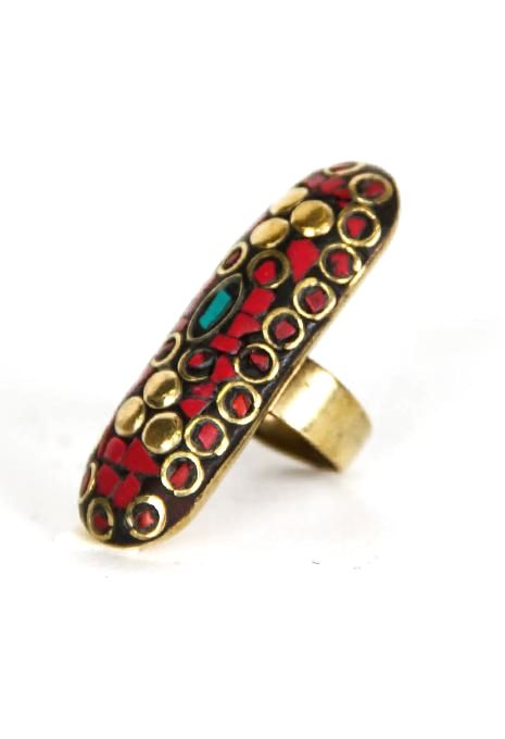 Long Brass Nepali Ring
