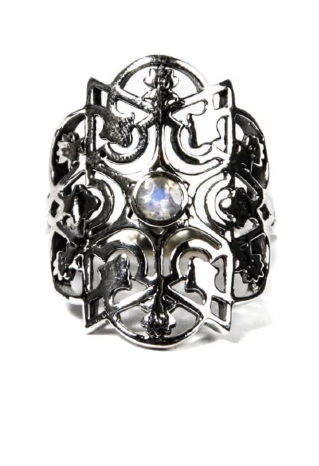 Long Filigree Ring With Assorted Stone