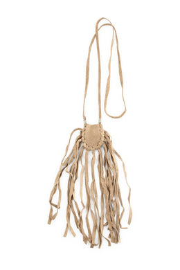 Long Fringing Mini Suede Pouch Necklace