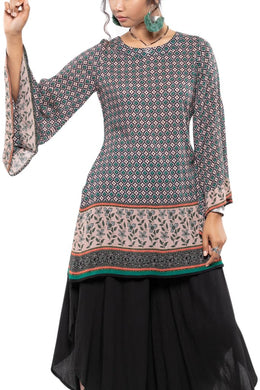 Low Back Bell Sleeve Mosaic Tunic Top