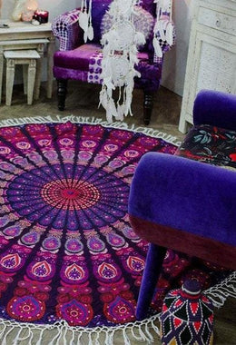Magenta Mandala Round Throw