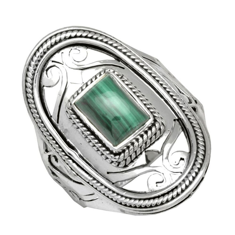 Malachite Jali Shield Ring