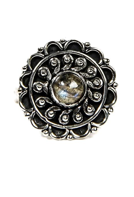 Mandala Ring With Round Stone