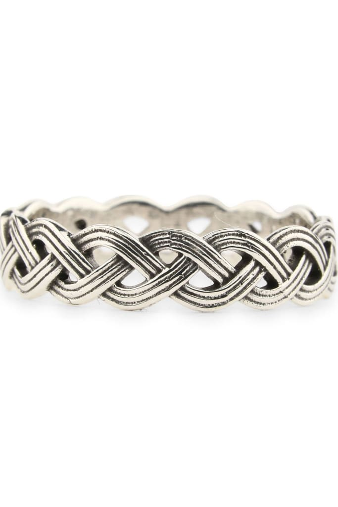 Mens Silver Plaited Ring