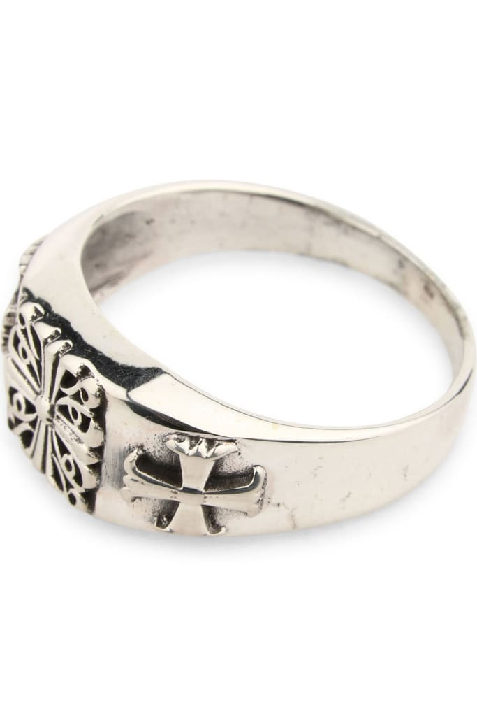 Mens Silver Signet Cross Ring