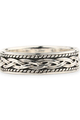 Mens Silver Woven Layers Ring