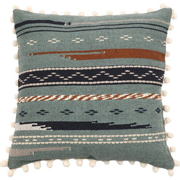 Mint Pom Pom Handloom Cushion