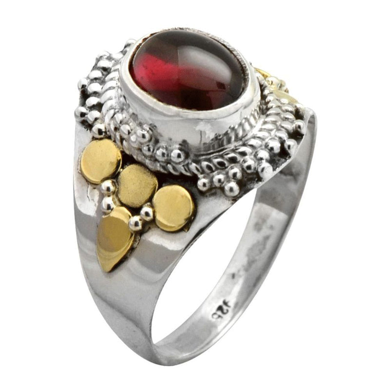 Mixed Metal Garnet Ring