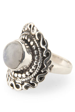 Moonstone Mandala Ring