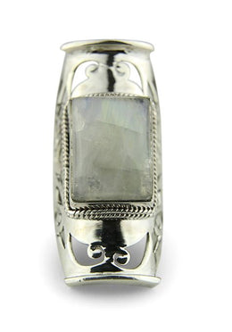 Moonstone Square Jali Ring