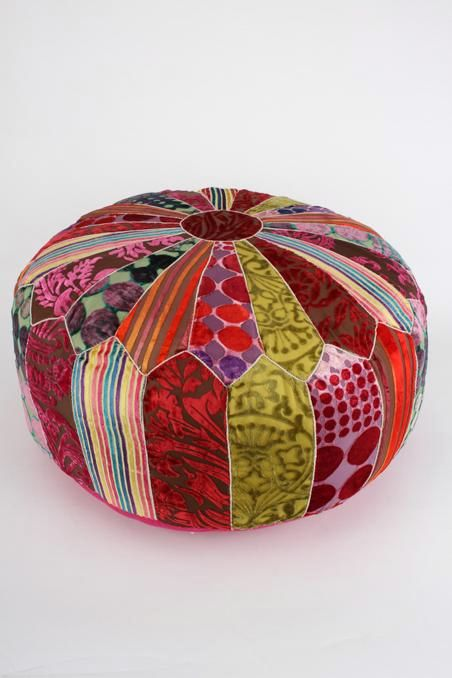 Multi Coloured Velvet Ottoman