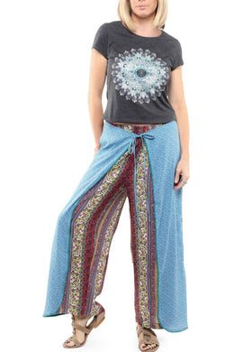 Multi-Print Wrap-Over Pants