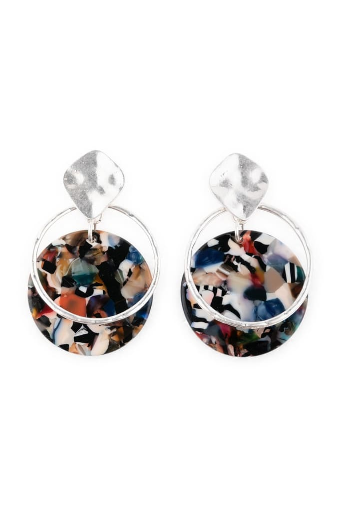 Multicolour Acrylic Pebbled Earrings