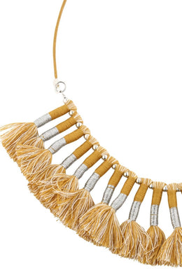 Mustard Metallic Tassel Necklace