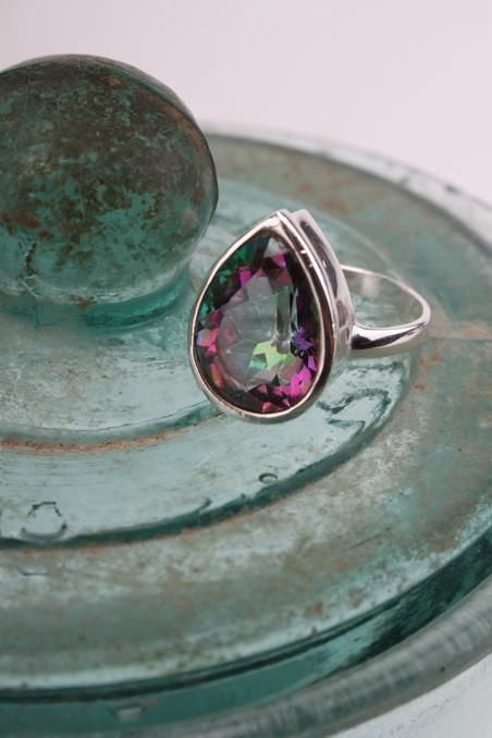 Mystic Topaz Ring Teardrop