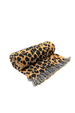 Leopard Bush Brown Throw
