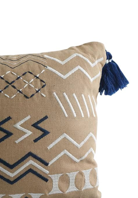 Natural Embroidered Tribal Cushion