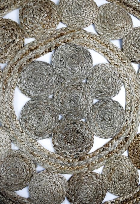 Natural Flower Jute Rug Large