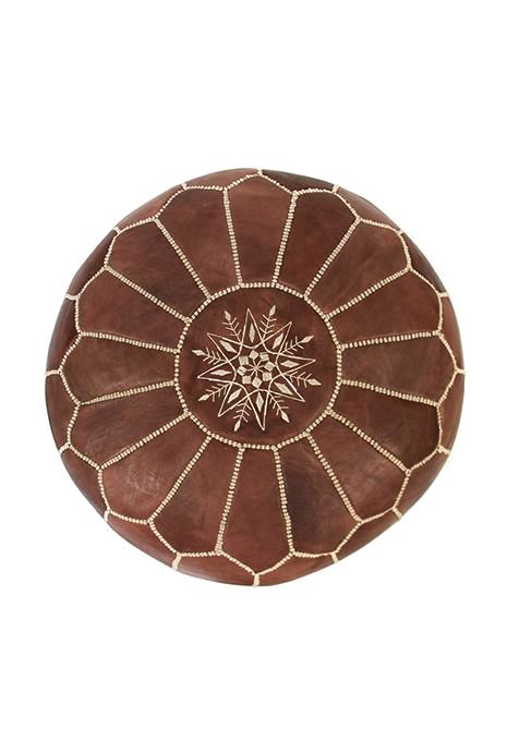 Natural Leather Moroccan Ottoman