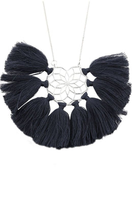 Navy Dreamcatcher Tassel Necklace