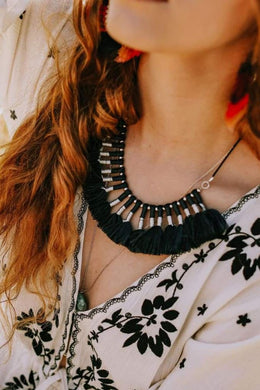 Navy Metallic Tassel Necklace