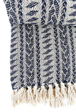 Navy Patterned Throw