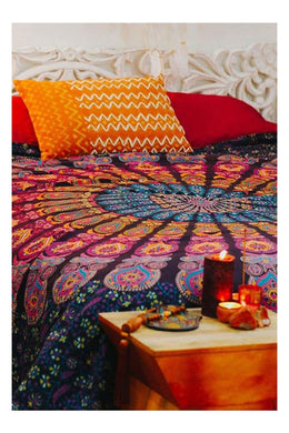 Navy/red Mandala Bedspread