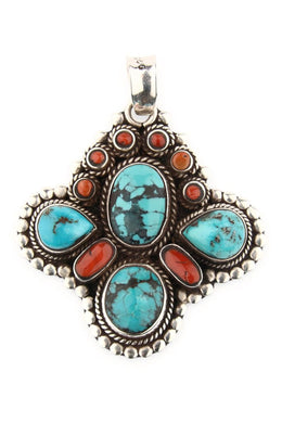 Nepali Coral & Turquoise Pendant