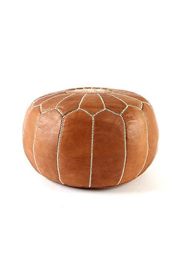 Nude Leather Moroccan Ottoman